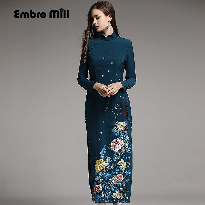 Осенние женские китайский стиль цветочный синий/розовый миди платье Ципао с вышивкой платья Элегантный тонкий леди Qipao праздничное платье