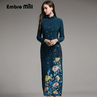 Autumn women Chinese style floral blue/pink midi cheongsam dress embroidery dresses elegant slim lady Qipao party dress S XXL