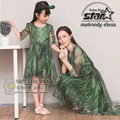 Family Matching Outfit Kids Vestidos Ball Gown Evening Dress Bohemian Style High Waist Mesh Long Dress Mommy and Daughter