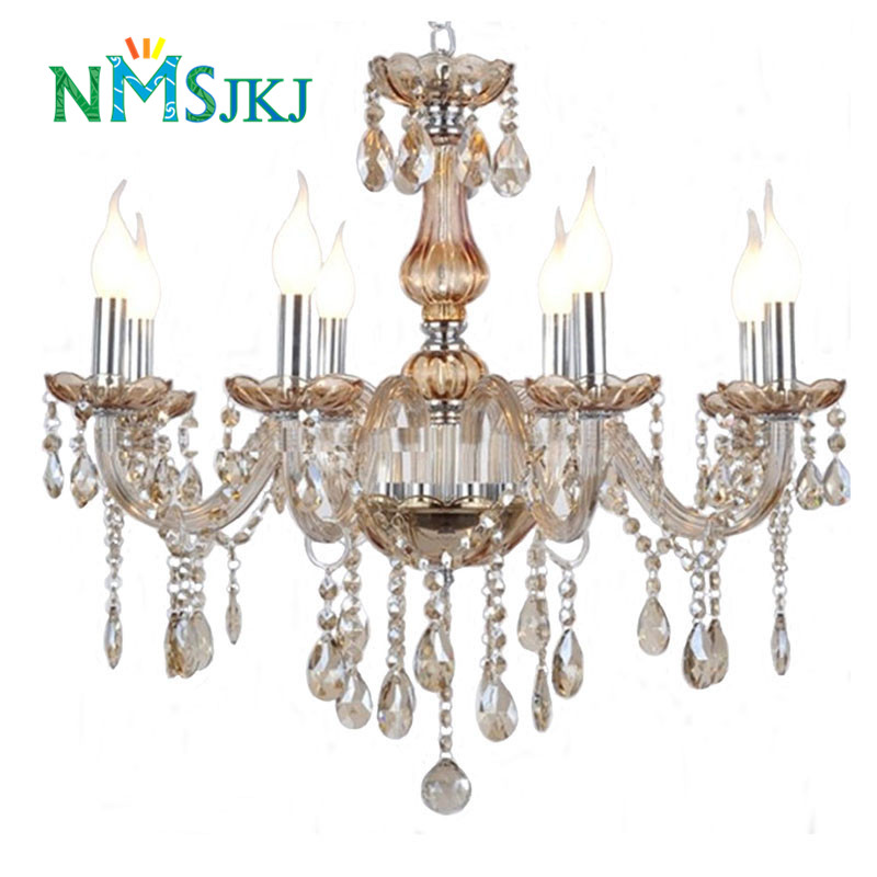 Modern Interior Home Art Decorate Lighting Transparent Cognac Crystal Chandelier for Dining Room Living Room Restaurant Bedroom