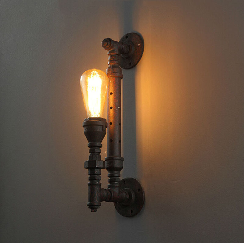 Loft industrial water pipe wall lamp retro American country bar restaurant European style staircase rust pipe wall lamp цены