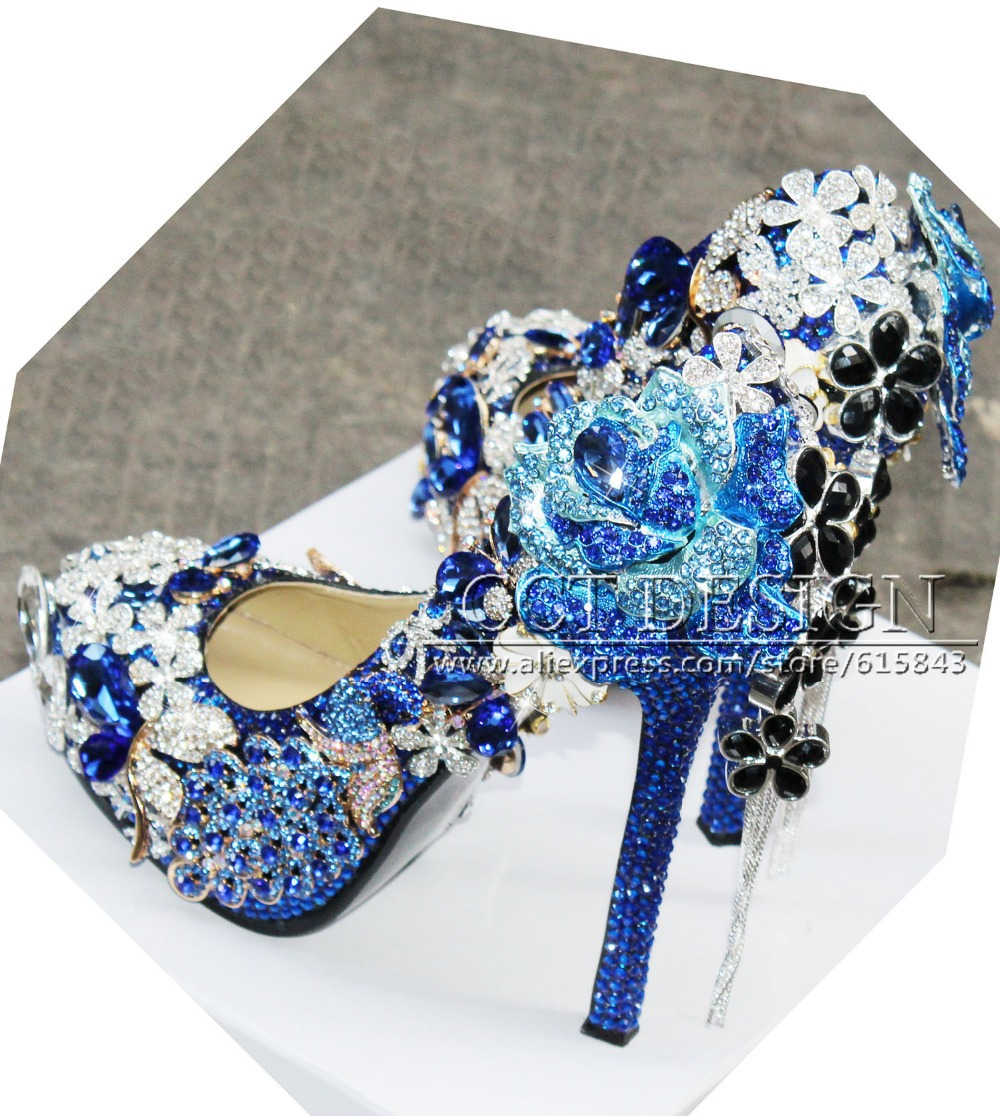 Luxury Handmade Customized Royal Blue Rhinestone Wedding Shoes Peacock and Rose  Flower Decorations High Heels-in Women s Pumps from Shoes on Aliexpress.com  ... 3d23cf8aae57