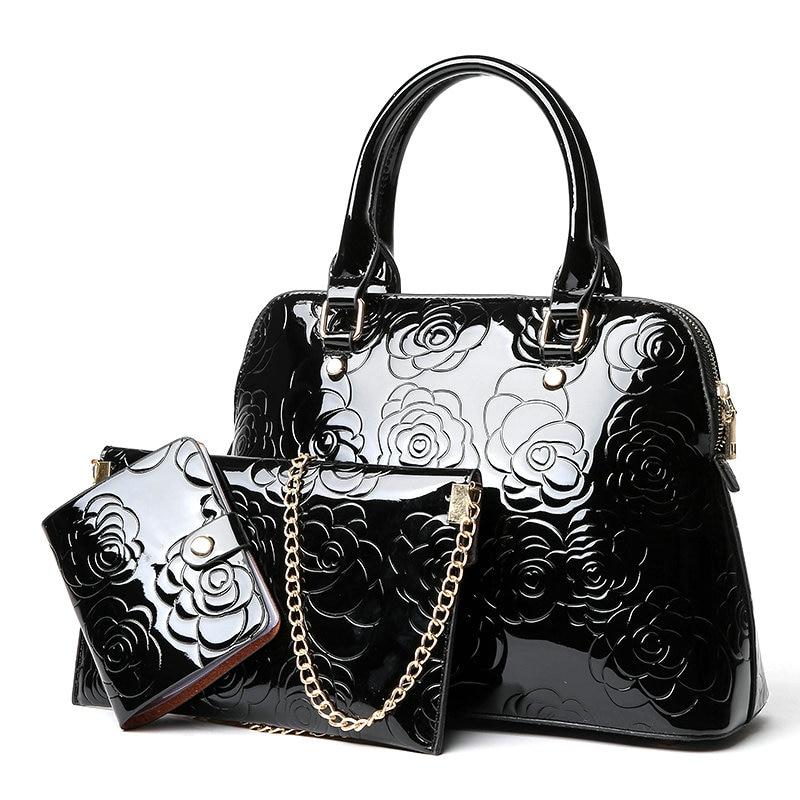 цена на Shoulder Bags Crossbody Brand New Fashion Patent Leather Women Bag Handbag Messager Luxury Ladies Black Tote Famous