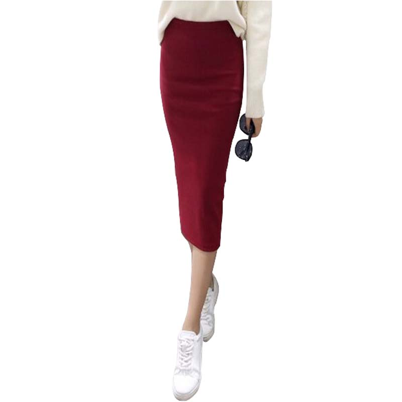 Een beetje dik 2016 Herfst Sexy Chic Pencil Skirts Office Look Natuurlijke Taille Mid-Calf Solid Skirt Casual Slim Hip Placketing
