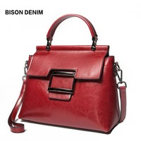 BISON DENIM Leather Women Bag Vintage bags for women 2018 Female Handbag Tote for Daily Shopping High Quality Shoulder Bag N1489