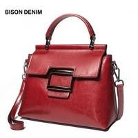 BISON DENIM Leather Women Bag Vintage bags for women 2018 Female Handbag Tote for Daily Shopping High Quality Shoulder Bag N1489