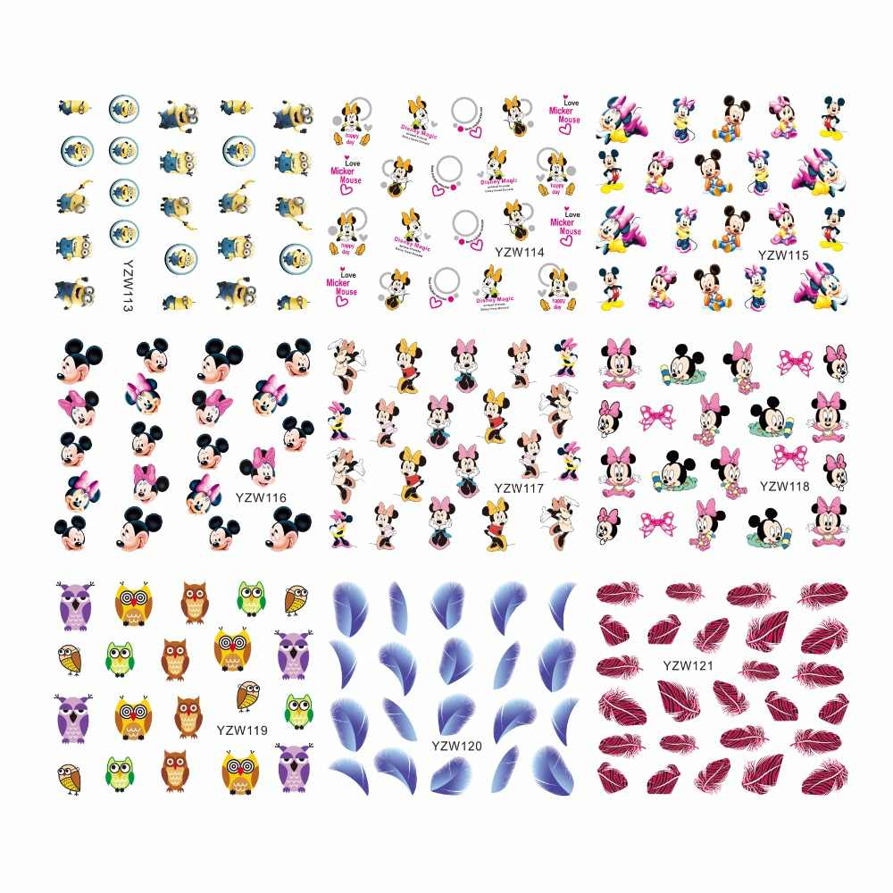 YZWLE 1 Sheet Optional Cartoon Feather Owl Designs Water Decals Mixed Flower Nail Stickers French Decorations For Nails Tools