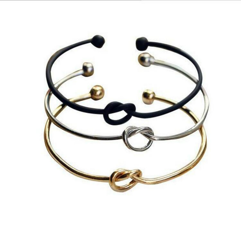 Octbyna Simple Pure Copper Casting Love Knot Open Metal Bangle Bracelet For Women Love Heart Bracelet Girl Couple