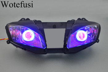 Wotefusi ABS Projector Lamps Headlight Blue Angel Eye + Red Devil Eye For YAMAHA YZF R6 06-07 2006 2007 [DD09-BR] image