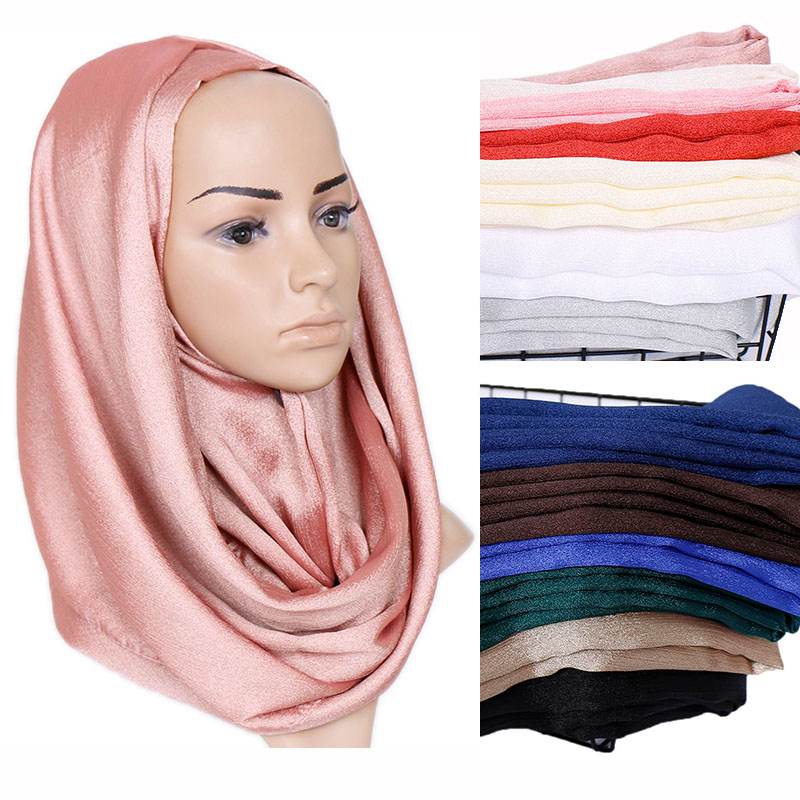 Shimmer silk hijab scarf plain soft shawls glitter muslim scarves headscarf solid color wraps Turbans headband