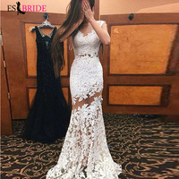 White Mermaid Formal Evening Dresses Long 2019 Fashion Simple Plus Size Wedding Guest Gown Elegant Abito Da Cerimonia ES2666
