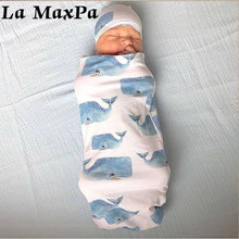 2Pcs/Set Newborn Baby Swaddle Warp Blanket Cartoon Print Sleeping Bag Hat Set Baby Newborn Swaddle Muslin Wrap Photograph Props недорого