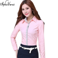Women Blouse Autumn Office Lady Long Sleeve Shirt Plus Size Women Pink Work Wear Female Tops