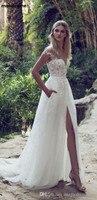 2018 A Line Lace Wedding Dresses Illusion Bodice Court Train Vintage Garden Boho Wedding Party Bridal Gowns