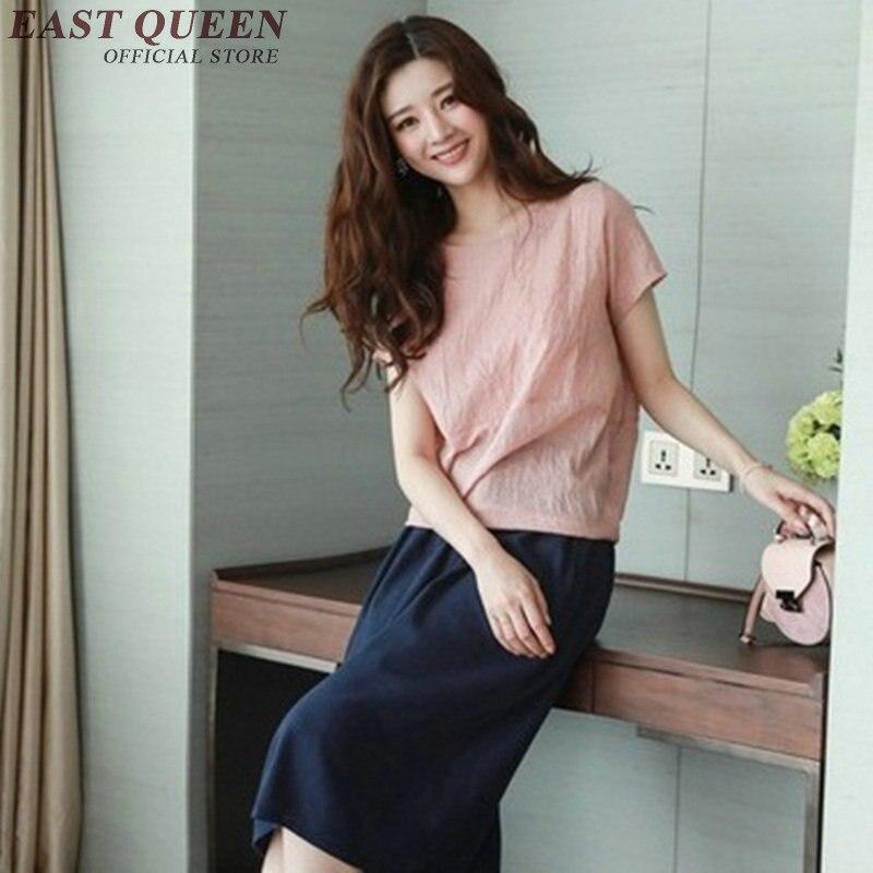 Mori girl summer women suites short sleeve tops with pants womans two piece sets plain elegant linen clothes KK974 HQ