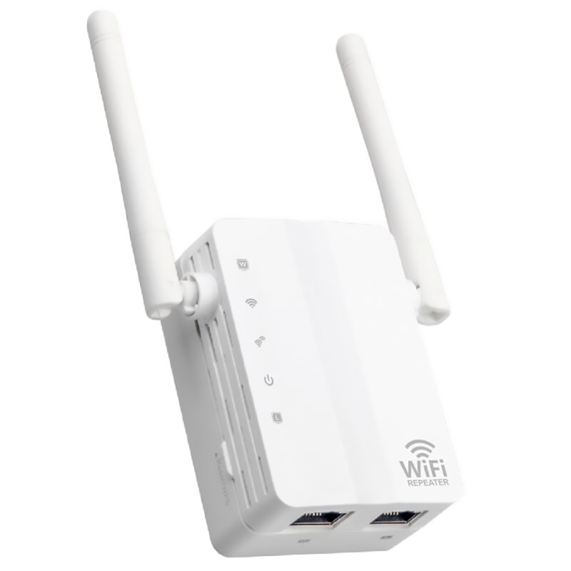Mini WiFi Repeater Router Dual Antennas network ports 2dBi 300Mbps WiFi Repeater Wireless Range Extender EU Plug