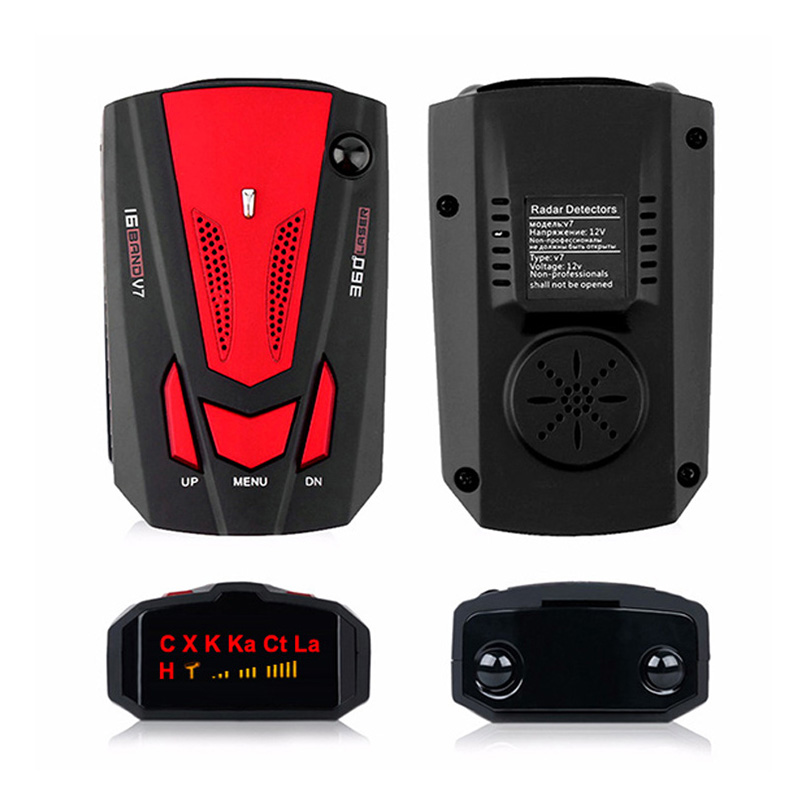 Car Radar Signal Detectors Early Warning Device English/Russian Auto 360 Degree Vehicle V7 Speed Voice Alert Alarm Warning|Radar Detectors| |  - title=