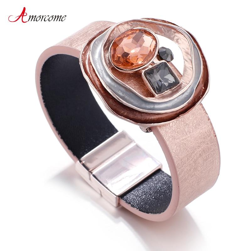 Amorcome Elegant Leather Bracelets For Women 2020 Fashion Metal Charm Ladies Bohemian Wide Wrap Bracelet Party Jewelry(China)