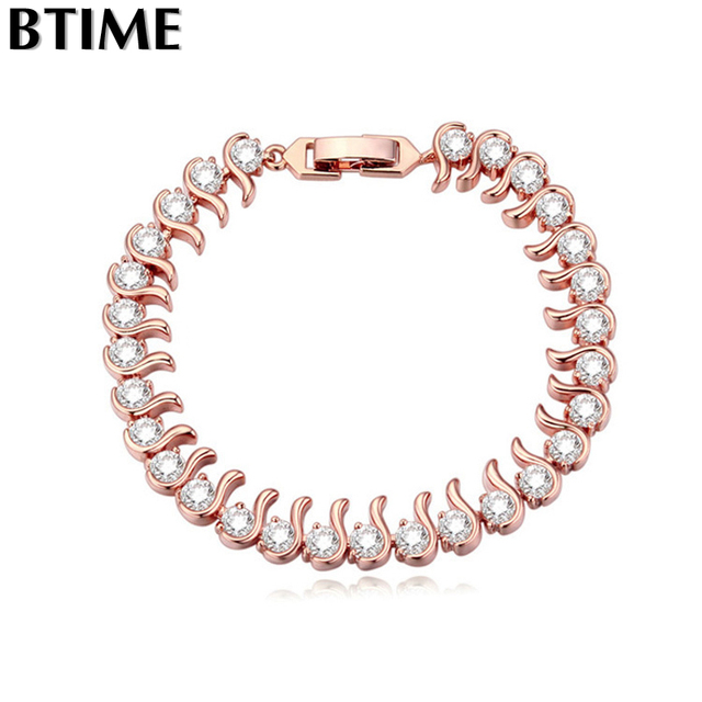Btime New Design Rose Gold Plated Romantic Cubic Zirconia Bracelets Bangles for Women Free Shipping   Crystals From Swarovski
