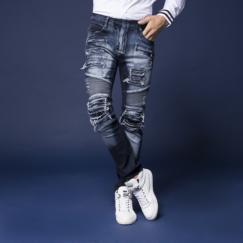 Autumn male patch hole jeans male water wash bleach slim skinny