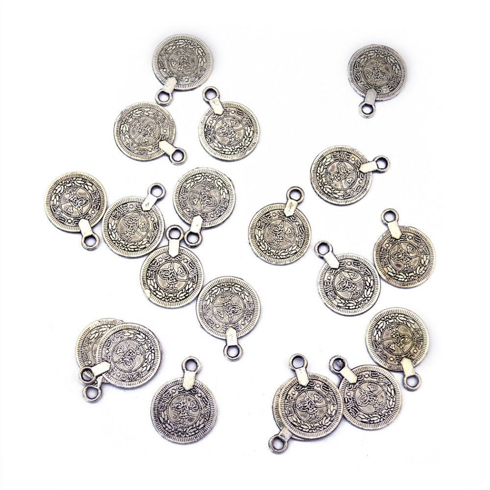 Gypsy Boho Beachy Chic Carving Flower Coin Charm for Jewelry Making Festival Silver tone Ethnic Turkish India Tribal Accessories malaysian ethnic festival foods