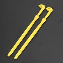 2 Unids Fácil Loop Hook Tyer y Disgorger Herramienta Lazo Nudo Atado Rápido Tool Kit Amarillo Pequeño Lleno de Nivel De Línea para la Pesca Con Mosca Pesca