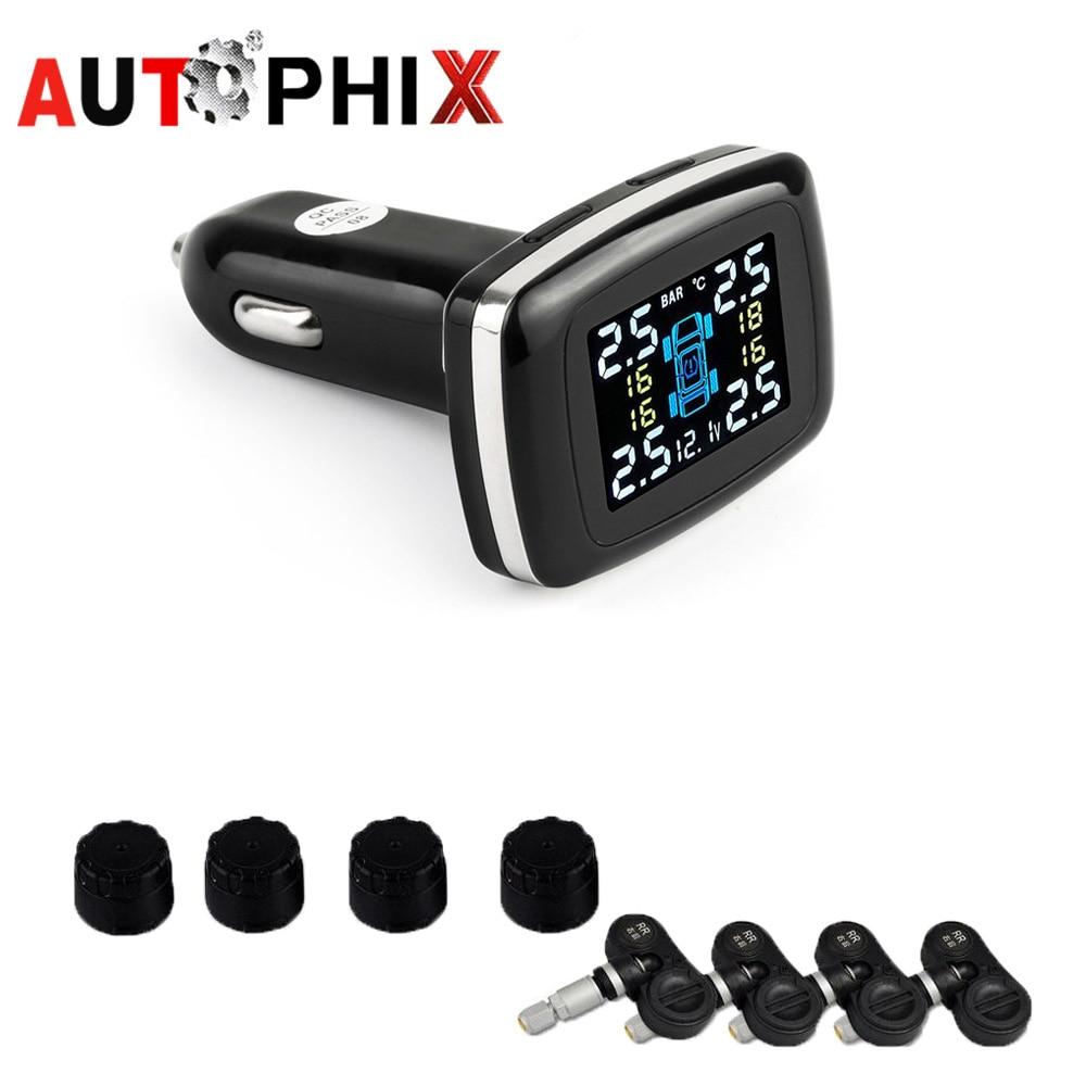 Digital Tire Pressure Monitoring System 12V TPMS Tire Pressure Alarm tire Pressure Alarm Car Charger Tyre Pressure Sensor цена