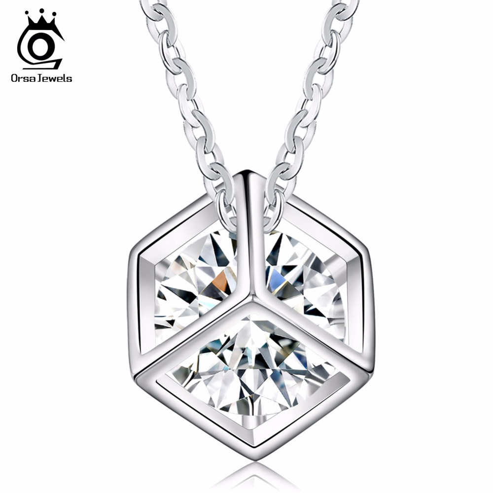 ORSA JEWELS 100% Allergy Free Silver Color Necklace Square Box with AAA Cubic Zirconia Elegant Pendant Necklace for Women ON49