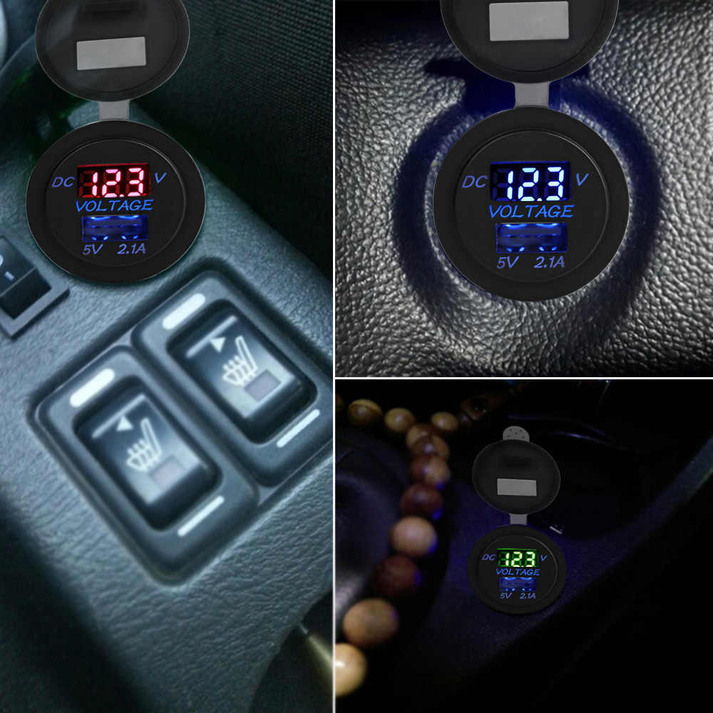 Powstro LED سيارة 2.1A USB شاحن مقبس المخرج مع تعديل الفولتميتر ملحق للدراجات النارية موتور شاحنة ATV قارب 12-24 فولت