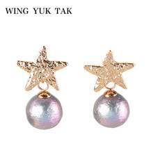 wing yuk tak Fashion Star Earrings Gold Color Minimalist Simulated Pearl Jewelry Trendy Statement For Women Hot Sales G