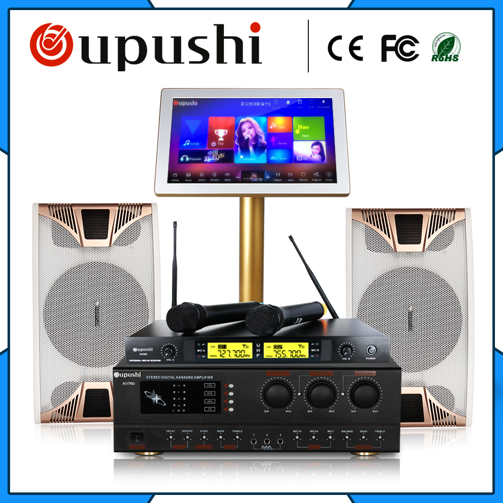 Family Karaoke Party ktv  player system 4 TB HD + 10 inch speaker + 19  touch screen w / song +  power amplifier  free shipping 2017 hot sale q7 handheld mobile phone ktv home mini karaoke wireless bluetooth 4 0 microphone speaker free shipping