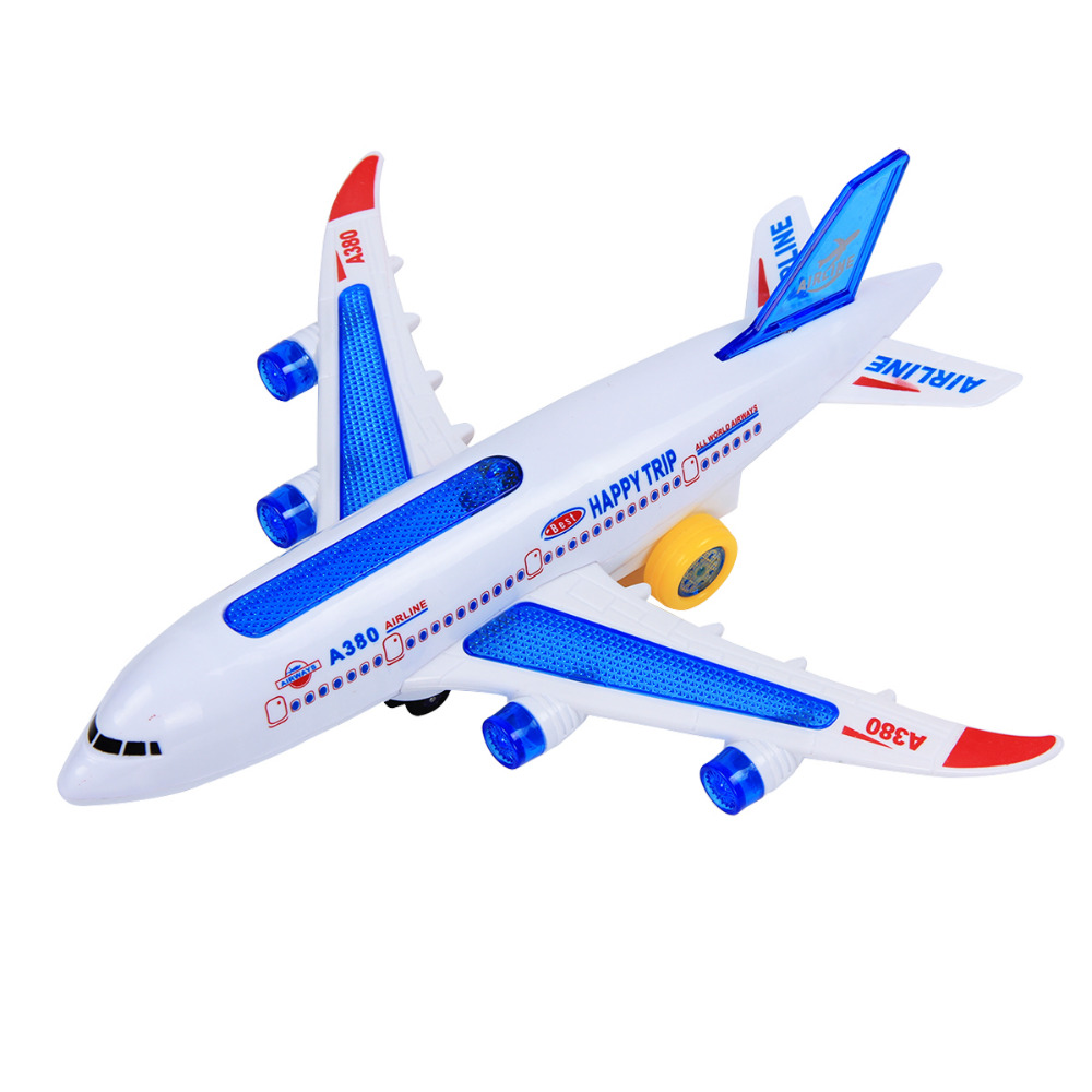 Mini Music Electric Universal Airbus Plane Model Flashing Electric Airplane Children Kids Toys Gifts LED Automatic Steering