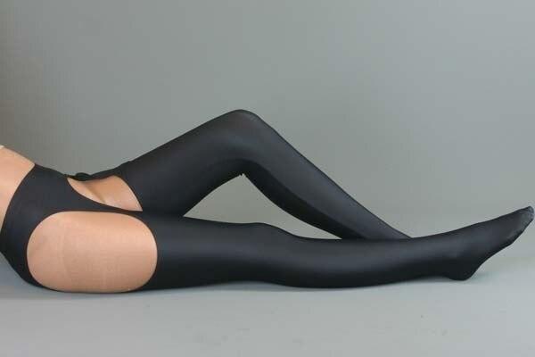 Mulher Sexy Preto Lycra cueca + mercerizado Coxa Alta Meias terno