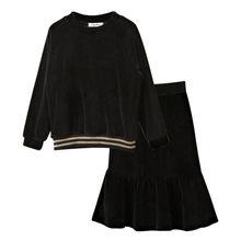 b451924b63918 Черная велюровая блузка с длинными рукавами и расклешенной юбкой в стиле  «рыбий хвост» для девочек-подростков 4-16 лет, комплект.