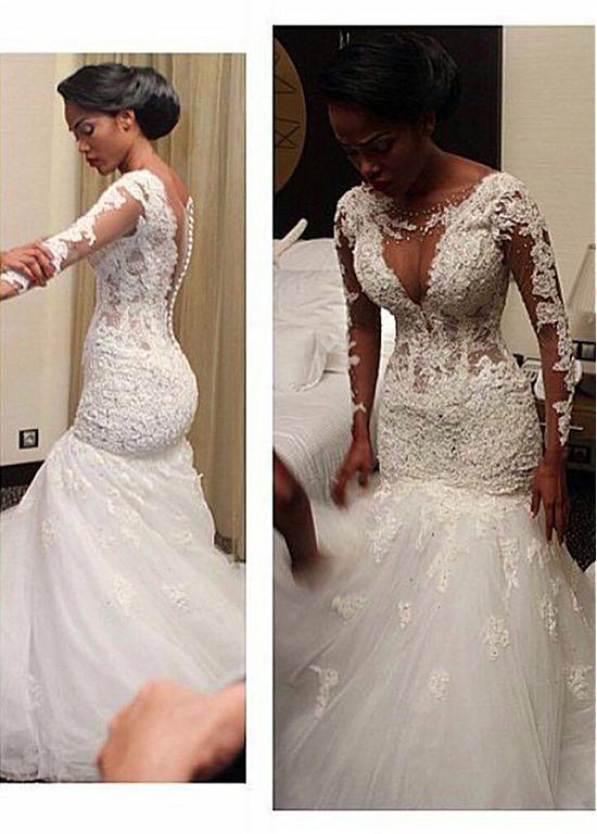 Long Sleeves Vestido De Noiva 2019 Muslim Wedding Dresses Mermaid Tulle Appliques Beaded Boho Dubai Arabic Wedding Gown Bridal