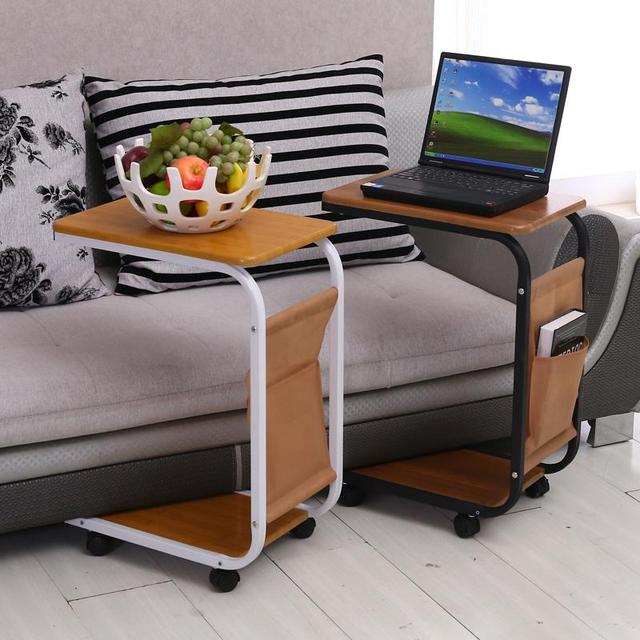 Simple Sofa Laptop Desk With Wheels To Facilitate Small Movable Tables Bedside