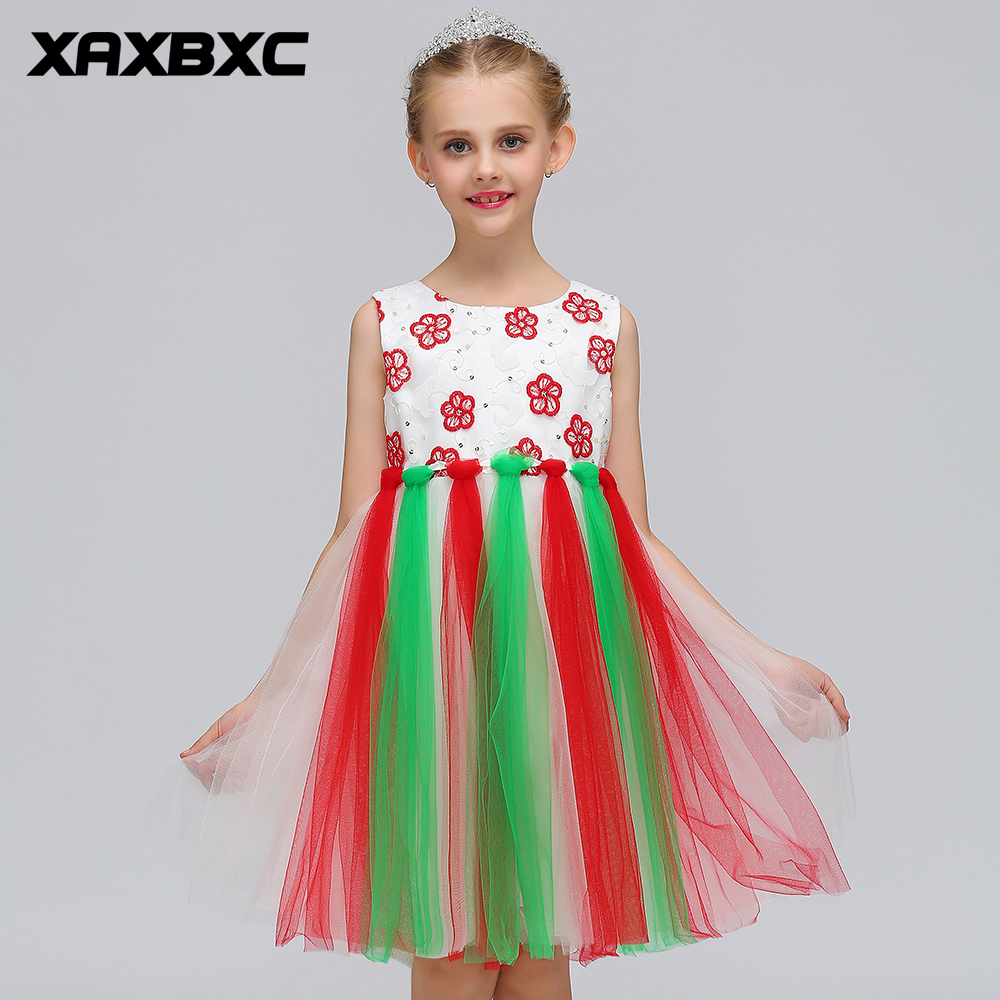 L-80 Red Green Lace Princess Dresses Kids Prom Gown Evening Dresss Wedding Party Dress Girls Clothes Tulle Children's Costume teenage girl party dress children 2016 summer flower lace princess dress junior girls celebration prom gown dresses kids clothes