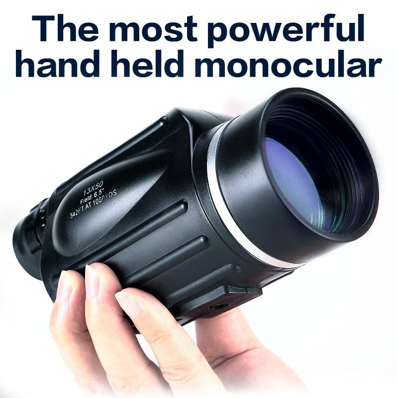 Охотничий монокуляр 13x50 с большим обзором, мощный удобный телескоп, прибор для наблюдения точечных целей, монокуляр для просмотра спортивны...