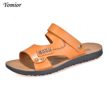Yomior Men's Soft Leather New Famous Brand Casual Men Sandals Slippers Summer Shoes Outdoor Travel Beach Sandals for Mens