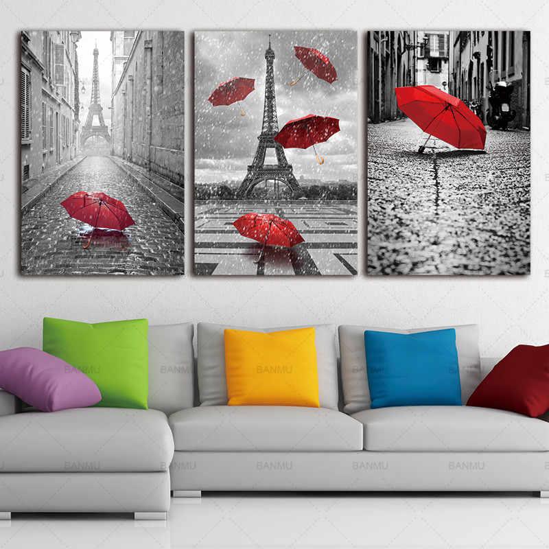 Настенная художественная картина плакат Холст Живопись Декор для дома черный и белый Эйфелева башня с красным зонтиком на Париже уличная фотография