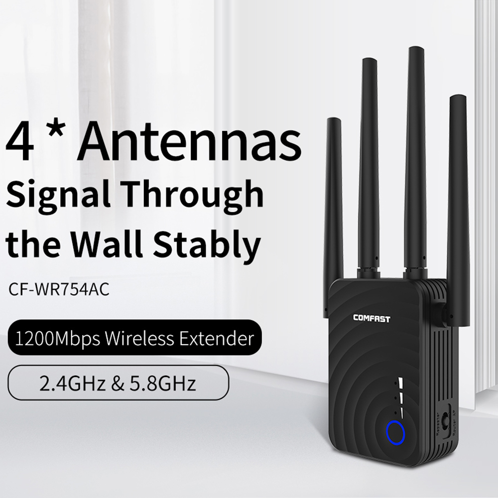 1200Mbps Wireless Wifi Extender Wifi Repeater/Router Dual Band 2.4&5.8Ghz 4 Wi Fi Antenna Long Range Signal Amplifier