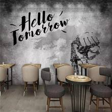 3d wallpaper vintage cement wall inspirational slogan bar restaurant background high-end mural