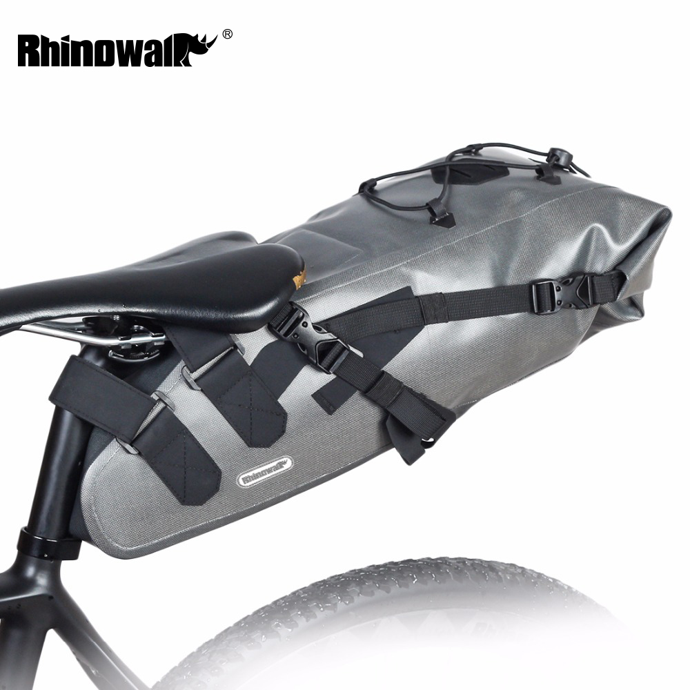 RHINOWALK 2017 Newest 10L 100% Waterproof Bike Bag Bicycle Saddle Bag Cycling Mountain Bike Back Seat Rear Bag Bike Accessories osah dry bag kayak fishing drifting waterproof bag bicycle bike rear bag waterproof mtb mountain road cycling rear seat tail bag