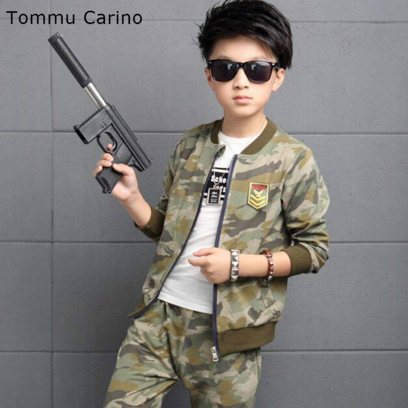 Autumn New Arrival Big Boys Age 13 14 Years Children Clothing Camouflage suit Jacket Long Pans For Fashion Military Fans Gift [free shipping] 2015 new arrival fashion female 1 4 years child love baby cashmere long sleeved jacket trousers leisure suit