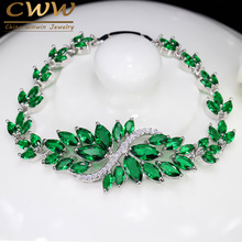 6 Colors Choice Luxury Women Party Evening Jewelry Big Green Crystal Bridal Wedding Bracelet Bangle For Women CB194
