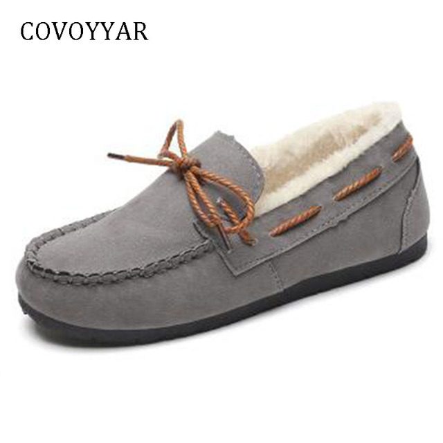 COVOYYAR 2019 Bow Flat Boat Shoes Women Comfort Fur Winter Shoes Ankle Boots Slip On Home Cotton Shoes Plus Size 40 WFS787