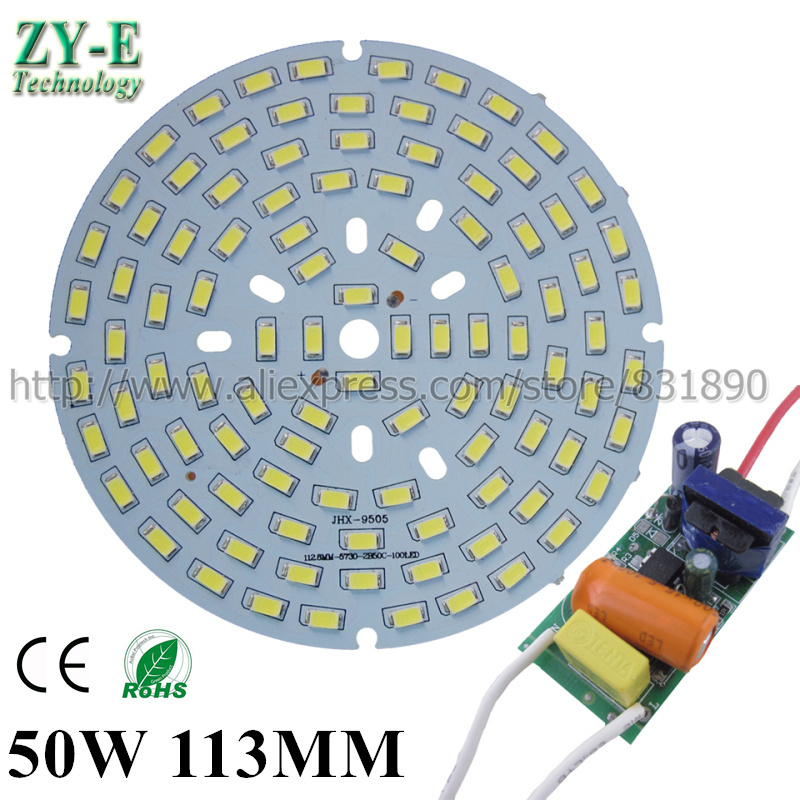 2Set AC 220V LED PCB With SMD5730 Aluminum Plate 50W 113/145MM With Inside Driver LED Bay Light Ceiling Light LED Bulb Free Ship