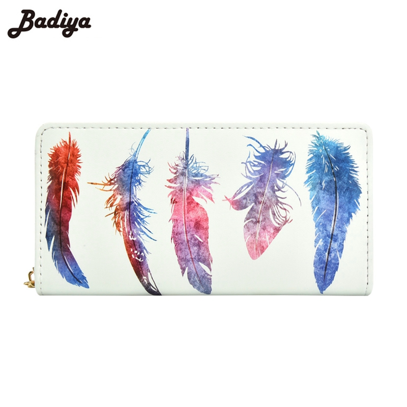 Badiya Fashion Women Long Wallet Feathers Print PU Leather Zipper Cards Slots Money Coins Purses Pockets for Phone Wallets round neck long sleeve 3d coins print sweatshirt