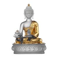 New Coloured Glaze Buddha Statue Bhaisajyaguru Figure Bhaisajya Buddha Figurine Medicine Buddha Bodhisattva Good Luck R57