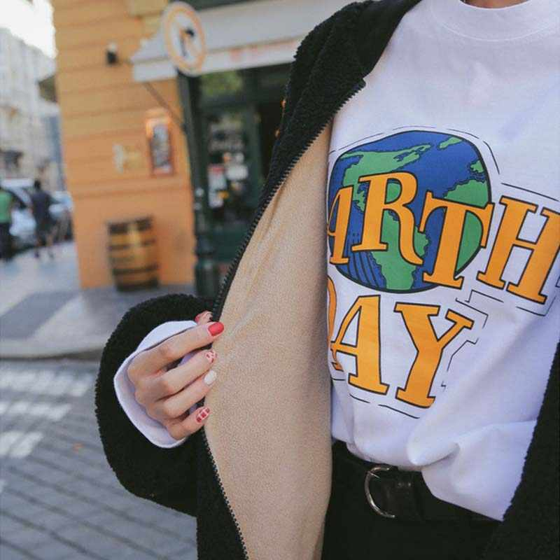 7b0a40083 Earth Day Aesthetic print Women Girl's T shirt Tumblr Fashion Street Style  Plus size New Summer